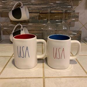 Rae Dunn BLUE & RED USA MUG SET